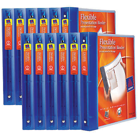 """Avery® Flexible View Binders With Round Rings, 1"""" Rings, Blue, Case Of 12 Binders"""