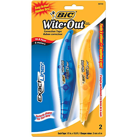 "BIC® Wite-Out® Exact Liner® Correction Tape, Single Line, 236"", Pack Of 2"