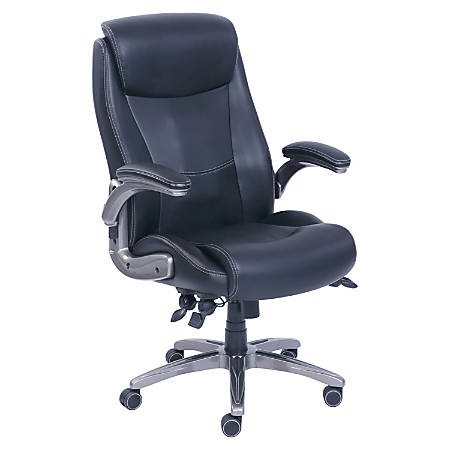 Lorell® Revive Bonded Leather High-Back Chair, Black