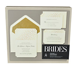 brides foil invitation kit gold glitter dot on white 5 x - Officemax Wedding Invitations