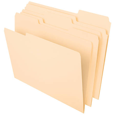 Office Depot® Brand File Folders, 1/3 Tab Cut, Assorted Position, Letter Size, Manila, Pack Of 100