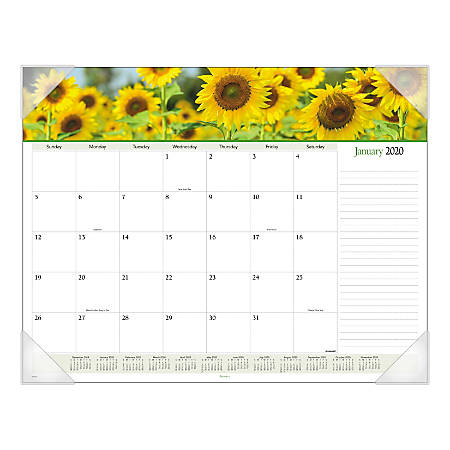 "AT-A-GLANCE® Floral Panoramic Monthly Desk Pad, 22"" x 17"", January To December 2020, 89805"
