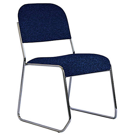 OfficeStor PLUS Sled-Base Stacking Chair, Chrome/Galaxy Blue