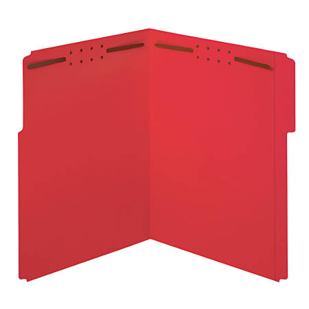 Office Depot® Brand Color Fastener File Folders, Letter Size, Red, Pack Of 50 Folders
