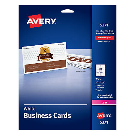 Avery laser microperforated business cards 2 x 3 12 white pack of avery laser microperforated business cards 2 reheart Choice Image