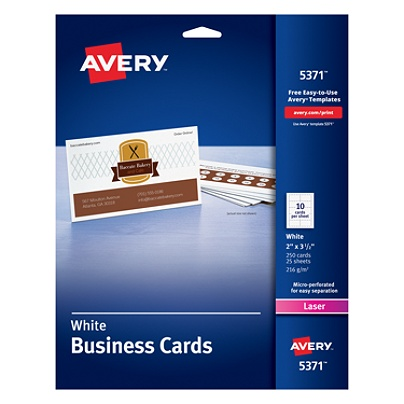 Avery laser microperforated business cards 2 x 3 12 white pack of avery laser microperforated business cards 2 x 3 12 white pack of 250 by office depot officemax accmission Gallery