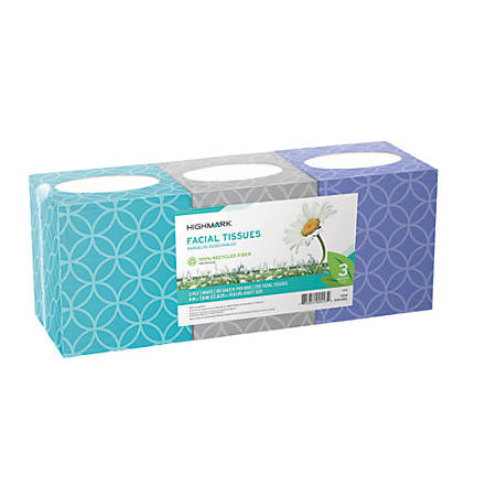 Highmark® 2-Ply Facial Tissue, 100% Recycled, White, 85 Tissues Per Box, Pack Of 3 Boxes