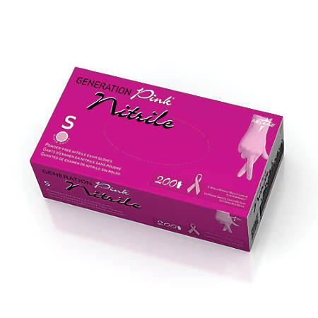 Generation Pink® Powder-Free Nitrile Exam Gloves, Small, Pink, Box Of 200 Gloves