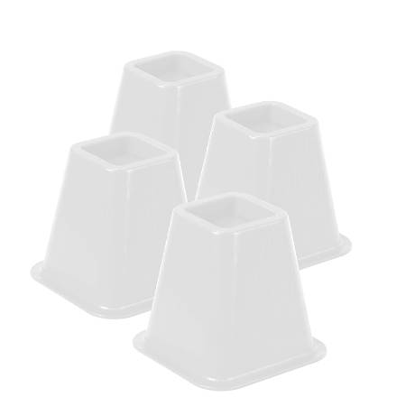 """Honey-Can-Do Plastic Bed Risers, 6""""H x 6 1/2""""W x 6 1/2""""D, Off-White, Pack Of 4"""
