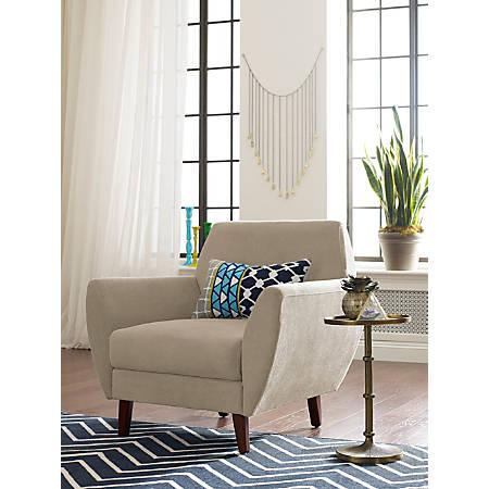 Elle Décor Amelie Mid-Century Modern Arm Chair, Beige/Chestnut