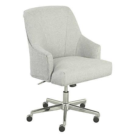 Serta Leighton Mid-Back Office Chair, Ivory/Chrome