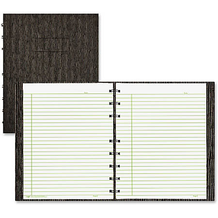 """Blueline Executive Wirebound Notebook - 150 Sheets - Twin Wirebound, Twin Wirebound - Ruled - 9 1/4"""" x 7 1/4"""" - Black Cover - Hard Cover, Micro Perforated, Tab, Index Sheet, Pocket, Self-adhesive Tab - Recycled - 1Each"""