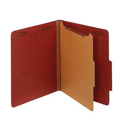 """Office Depot® Pressboard Classification Folders With Fasteners, 1 Divider, Letter Size (8-1/2"""" x 11""""), 2"""" Expansion, 100% Recycled, Red, Box Of 10"""