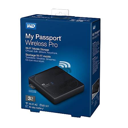 WD My Passport® Wireless Pro 3TB External Hard Drive, 256MB Cache, USB 3.0, Black