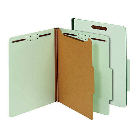 """Office Depot® Brand 100% Recycled Classification Folders, 1 Divider, 1 3/4"""" Expansion, Letter Size, Light Green, Box of 10"""