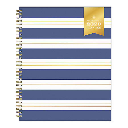 """Day Designer® Refined Stripe Frosted Weekly/Monthly Planner, 8-1/2"""" x 11"""", Navy, January To December 2020, 116876"""