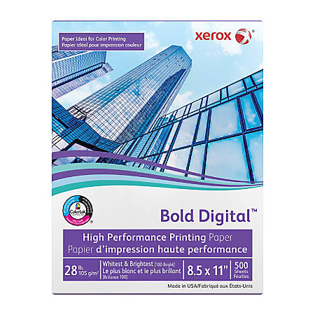 Xerox® Bold Digital™ Printing Paper, Letter Paper Size, 100 Brightness, 28 Lb, FSC® Certified, Ream Of 500 sheets