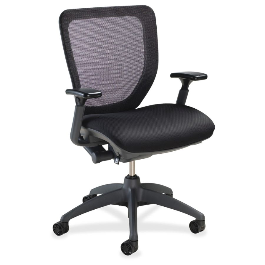 Lorell Synchro Knee Tilt Mesh Back Fabric Seat Chair Black By Office Depot  U0026 OfficeMax