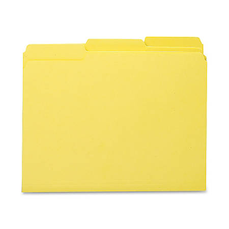 Smead® 1/3-Cut Interior Folders, Letter Size, Yellow, Box Of 100