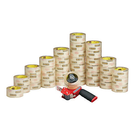 """Scotch® Commercial Grade Packing Tape Bonus Pack With Pistol-Grip Dispenser, 1 7/8"""" x 54.6 Yd., Case Of 36"""