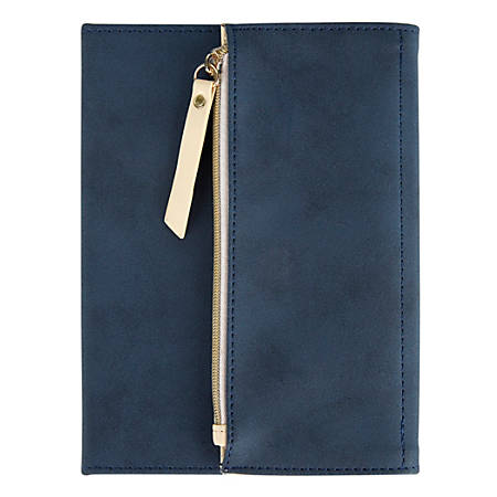 "Office Depot® Brand Journal With Built-In Zipper Pouch, 5"" x 7"", College Ruled, 160 Pages (80 Sheets), Navy"