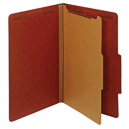 "Office Depot® Brand 100% Recycled Classification Folders, 1 Divider, 1 3/4"" Expansion, Legal Size, Red, Box of 10"