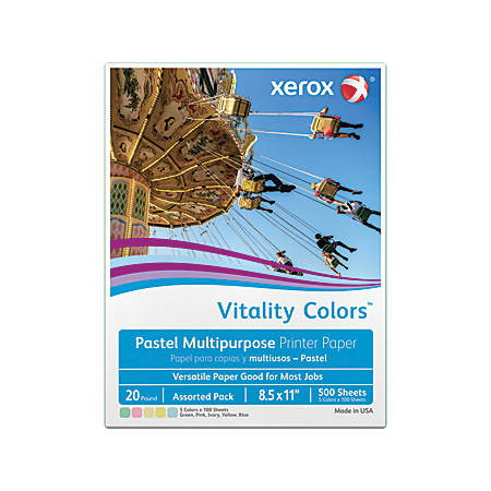 Xerox® Vitality Colors™ Multipurpose Printer Paper, Letter Paper Size, 20 Lb, 30% Recycled, Assorted Pastels, Ream Of 500 Sheets