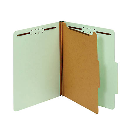"Office Depot® Brand 100% Recycled Classification Folders, 1 Divider, 1 3/4"" Expansion, Legal Size, Light Green, Box of 10"