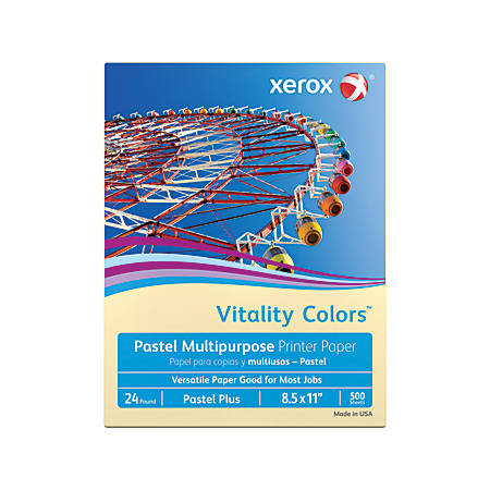 "Xerox® Vitality Colors™ Pastel Plus Multi-Use Printer Paper, Letter Size (8 1/2"" x 11""), 24 Lb, 30% Recycled, Ivory, Ream Of 500 Sheets"