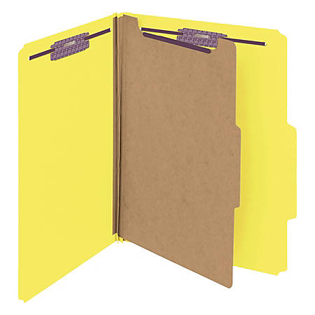 """Smead® Classification Folders, With SafeSHIELD® Coated Fasteners, 1 Divider, 2"""" Expansion, Letter Size, 50% Recycled, Yellow, Box Of 10"""