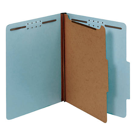 Office Depot® Brand Pressboard Classification Folders With Fasteners, Legal Size, 100% Recycled, Light Blue, Pack Of 10 Folders
