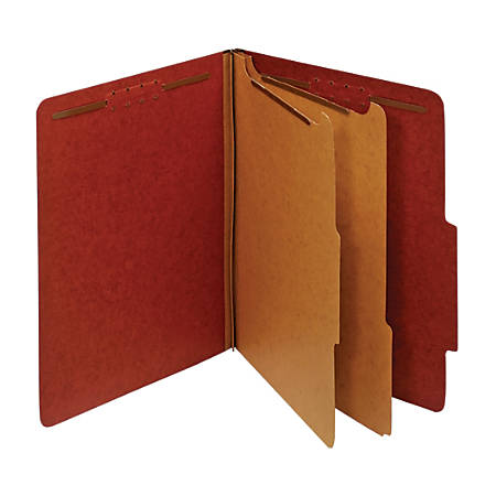 "Office Depot® Pressboard Classification Folders With Fasteners, 2 Dividers, Letter Size (8-1/2"" x 11""), 2"" Expansion, 100% Recycled, Red, Box Of 10"