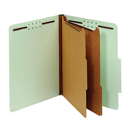 Office Depot® Brand Pressboard Classification Folders With Fasteners, Letter Size, 100% Recycled, Light Green, Pack Of 10 Folders