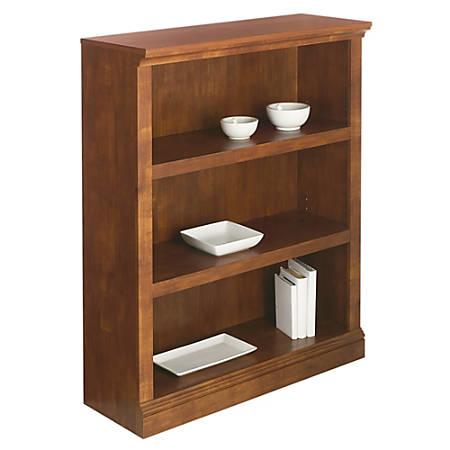 Realspace® Premium Bookcase, 3-Shelf, Brushed Maple