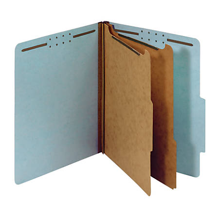"Office Depot® Pressboard Classification Folders With Fasteners, Letter Size (8-1/2"" x 11""), 2-1/2"" Expansion, 100% Recycled, Blue, Box Of 10"