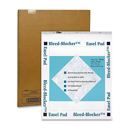 "TOPS® Bleed Blocker™ 30% Recycled Easel Pads, 27"" x 34"", 40 Sheets, Carton Of 2"