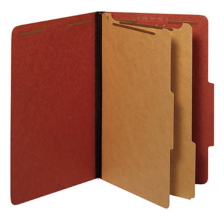 Office Depot® Brand Pressboard Classification Folders With Fasteners, Legal Size, 100% Recycled, Red, Pack Of 10 Folders