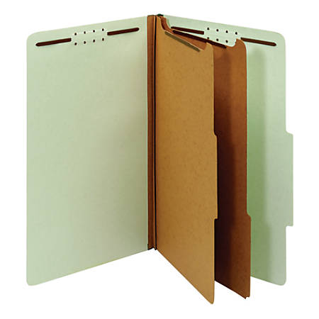 Office Depot® Brand Pressboard Classification Folders With Fasteners, Legal Size, 100% Recycled, Light Green, Pack Of 10 Folders