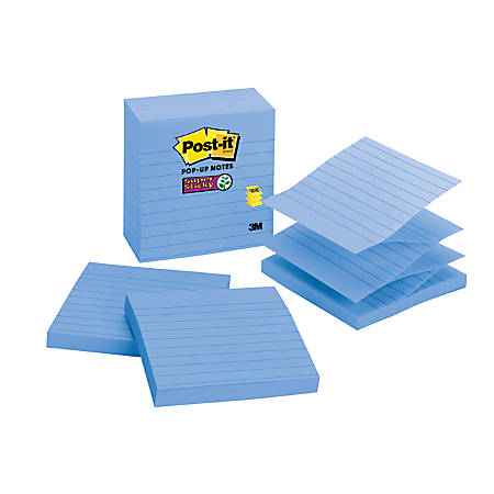 "Post-it® Super Sticky Pop-up Notes, 4"" x 4"", Assorted, Lined, Pack Of 5 Pads"