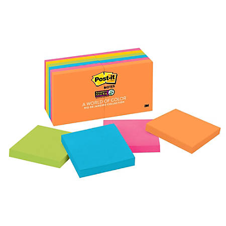 """Post it® Super Sticky Notes, 3"""" x 3"""", Rio de Janeiro, Pack Of 12 Pads"""