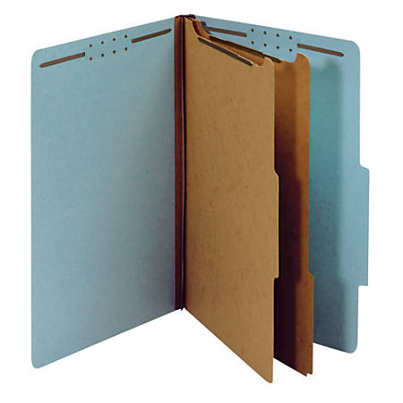 """Office Depot® Brand 100% Recycled Classification Folders, 2 Dividers, 2 1/2"""" Expansion, Legal Size, Light Blue, Box of 10"""