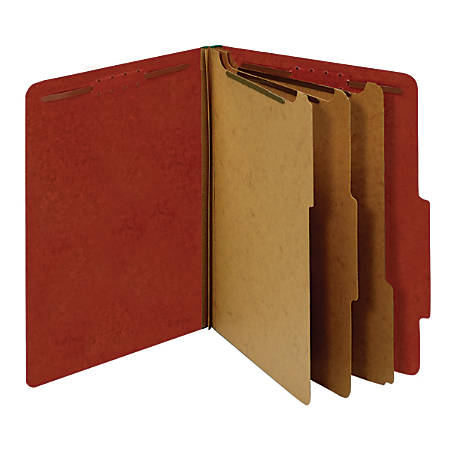 "Office Depot® Pressboard Classification Folders With Fasteners, Letter Size (8-1/2"" x 11""), 3-1/2"" Expansion, 100% Recycled, Red, Box Of 10"