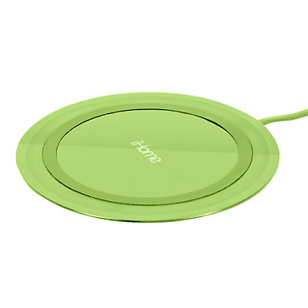 iHome Rainbow Ultra Slim QI Wireless Charging Pad, Lime, IH-QI1001E-P2