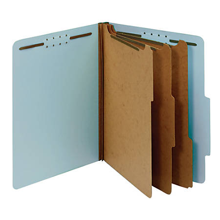 "Office Depot® Pressboard Classification Folders With Fasteners, Letter Size (8-1/2"" x 11""), 3-1/2"" Expansion, 100% Recycled, Blue, Box Of 10"