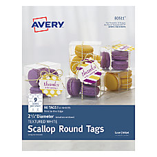 Avery Printable Textured Scallop Round Tags