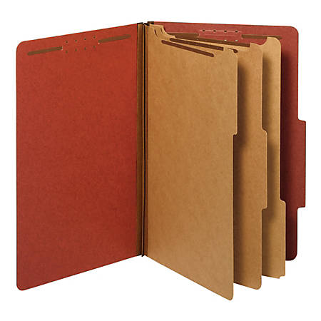Office Depot® Brand Pressboard Classification Folders With Fasteners, Legal Size, 100% Recycled, Red, Box Of 10