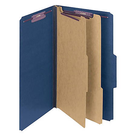 "Smead® Classification Folders, Top-Tab With SafeSHIELD® Coated Fasteners, 2"" Expansion, Legal Size, 50% Recycled, Dark Blue, Box Of 10"