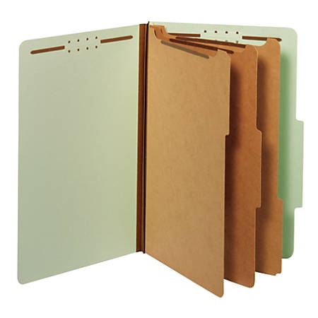 """Office Depot® Classification Folders, 3 Dividers, Legal Size (8-1/2"""" x 14""""), 3-1/2"""" Expansion, 100% Recycled, Green, Box Of 10"""