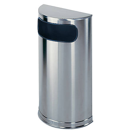 """United Receptacle 30% Recycled Half Round Side-Opening Steel Receptacle, 9 Gallons, 32"""" x 18"""" x 9"""", Stainless Steel"""