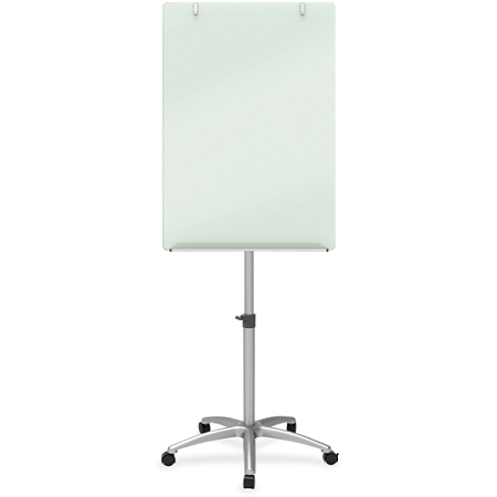 """Quartet Magnetic Glass Mobile Easel - 24"""" (2 ft) Width x 77"""" (6.4 ft) Height - Silver Tempered Glass Surface - Rectangle - 1 Each"""